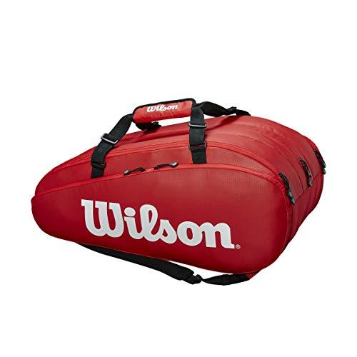 Wilson Tour 3 Comp, Borsa da Tennis Unisex-Adulto, Rosso/Bianco, 15 Racchette