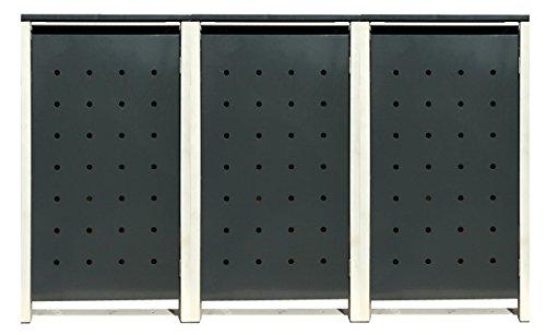 BBT@ | Hochwertige Mülltonnenbox für 3 Tonnen je 240 Liter mit Klappdeckel in Grau / Aus stabilem pulver-beschichtetem Metall / Stanzung 1 / In verschiedenen Farben sowie mit unterschiedlichen Blech-Stanzungen erhältlich / Mülltonnenverkleidung Müllboxen Müllcontainer