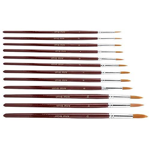 Cheveux en nylon, pinceau 12Pcs / set, pour professionnels, débutants,(Yuanfeng)