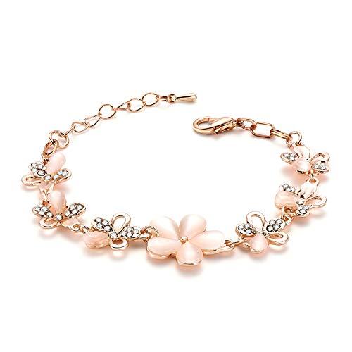 weimay 1pieza Mode personalidad Estilo Opal aleación pulsera para mujer flor joyas ( Oro )