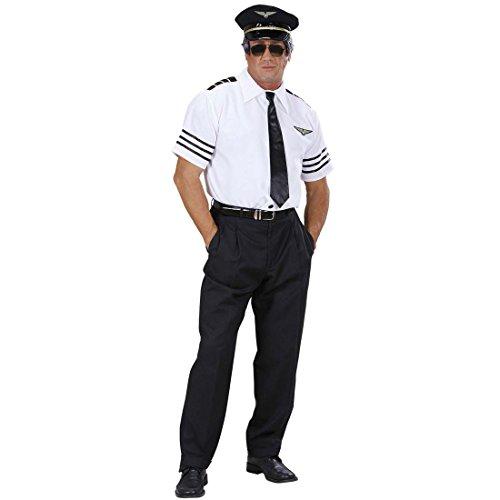 Amakando Kapitän Kostüm Set Piloten Anzug 48 S Pilot Hemd Mütze Krawatte Pilotenkostüm Karnevalskostüme Herren Sexy Junggesellenabschied Fliegerkostüm JGA Striptease Uniform