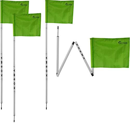 Kosma Set mit 4 faltbaren Eckflaggen | Faltbare Fußball-Trainingsecke – Größe: 152 cm x 25 mm – weißer Stock mit Metallspieß & grüner Flagge – in Tragetasche