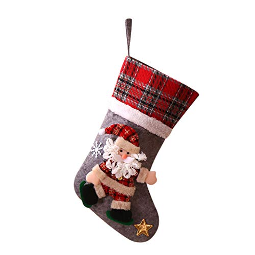 Yumso Grand Sac Cadeau De Noël Chaussettes Plaid Mignon Motif Père Noël Bonbons Cadeau sac Décoration Snowman Père Noël Décor Cadeau Noël Chaussettes