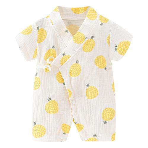 YWLINK Mono De Bebé ReciéN Nacido Algodon Manga Corta Kimono De Gasa Mameluco Pijamas De Encaje FáCil De Llevar Y Quitar Fiesta De Bautizo Infantil NiñO CumpleañOs Presente(Amarillo,0-3 meses/59)