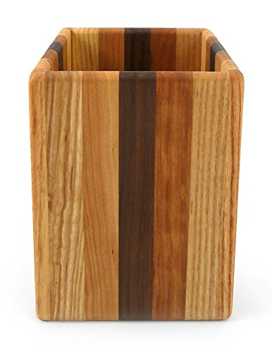 American Made Mixed Wood Utensil Holder Crock, Single Size
