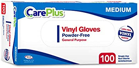 Disposable Vinyl Gloves Medium Size  Heavy Duty   Non Sterile   Powder Free   Latex Free Rubber   100 Count Box  food Safe