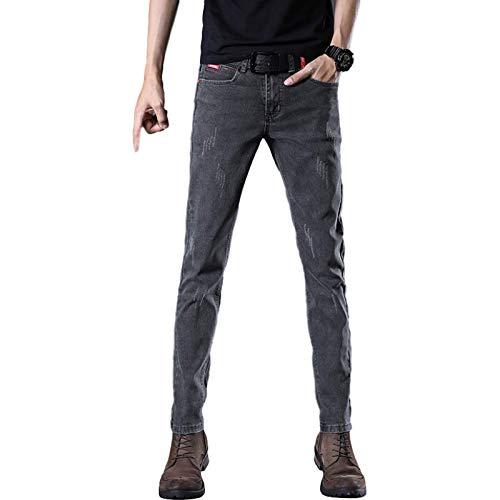 Pantalones Vaqueros de Primavera para Hombre, nuevos Pantalones Vaqueros de Pierna Recta Ajustados, Pantalones de Mezclilla Desgastados Lavados Casuales de Gran tamaño elásticos 34