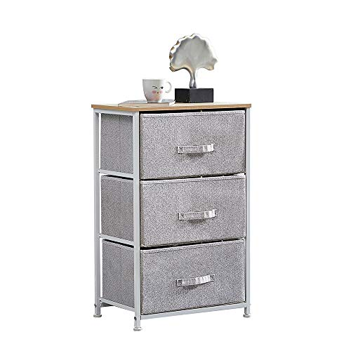 Ansley&HosHo Grey Chest of 3 Drawers with Handles Home Storage Cabinet Unit Bedroom Furniture Wardrobe Clothes Organizer Bedside Table with Fabric Basket for Bedroom Living Room Hallway 45*30*72cm