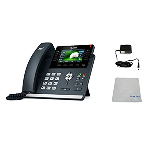 Yealink T46S SIP POE Office Phone Bundle with Power Supply and Microfiber Cloth   Requires VoIP Service - Vonage, Ring Central, 8x8, Mitel or Cloud Services   (T46S Basic Bundle)