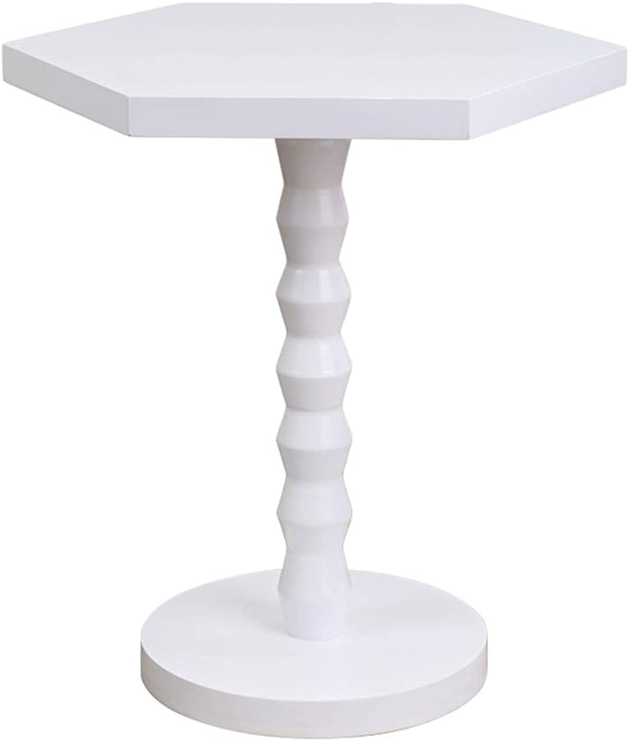 ZHIRONG Round Sofa Side Table Solid Wood Corner Table Coffee Table Bedside Table for Living Room Bedroom 42  51CM (color   White)