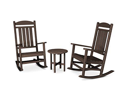 POLYWOOD PWS109-1-MA Presidential 3-Piece Rocker Rocking Chair Set, Mahogany