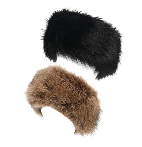 La Carrie Faux Fur Headband with Stretch Women's Winter Earwarmer Earmuff (Black&Natural)