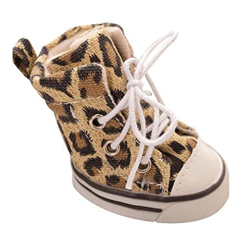 4pcs/ Lot Zapatos De Leopardo Animal Doméstico del Deporte De La Lona De Goma Antideslizante del Invierno del Otoño del Perrito Botas Zapatillas De Deporte (Color : Leopard, Size : 5)