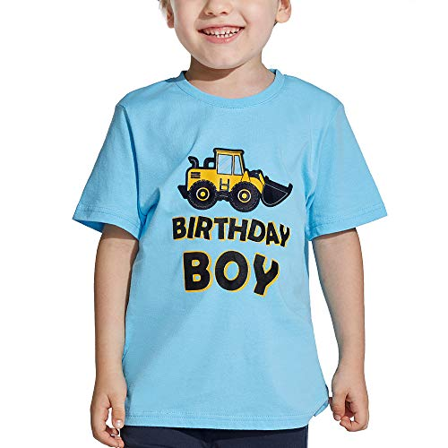 AMZTM Bagger 5. Geburtstag Kurzarm Kinder Junge T-Shirt Partybedarf LKW Bagger 5 Jahr Tshirt 100% Baumwolle Tee Blau bedrucktes Top für Boy Geschenk