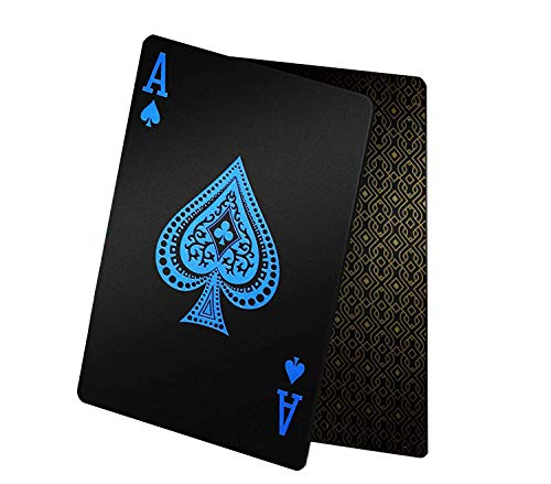 2 Decks Waterproof Black Poker Cards Playing Card Poker Cards Plastic PET Poker Card Novelty Poker Game Tools for Family Card Game Party