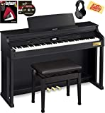 Casio AP-700 Celviano Digital Cabinet Piano - Black Bundle with Furniture Bench, Headphones, Online Lessons, Austin Bazaar Instructional DVD, and Polishing Cloth