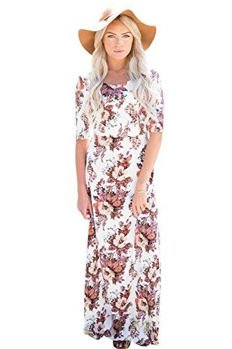 Mikarose Michelle Modest Maxi Dress In White Floral Print