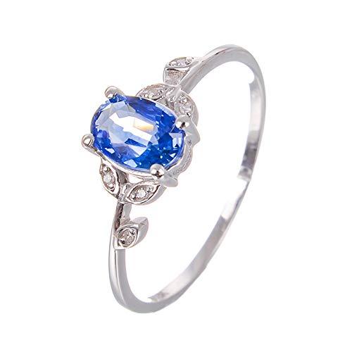 Daesar Fedine Fidanzamento in Oro Bianco 18K Anello per Donna Foglia di Zaffiro Blu Ovale Anello Diamante Argento Anello Oro Donna Matrimonio Misura 22