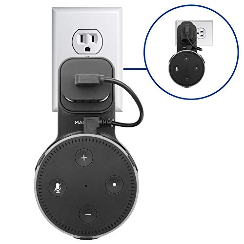 Macally Echo Dot Wall Mount Holder for Amazon Alexa 2nd Gen Speaker - Compact Bracket Stand Saves Home & Kitchen Counter Space - Hanger Accessories without Messy Wires or Screws (Black)