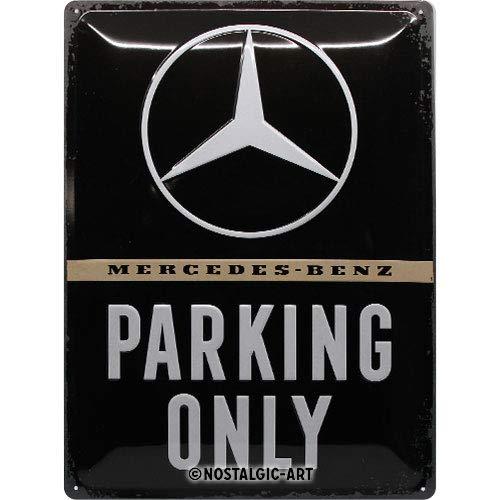 Nostalgic-Art Retro Blechschild Mercedes-Benz – Parking Only – Geschenk-Idee für Auto Accessoires Fans, aus Metall, Vintage-Dekoration, 30 x 40 cm