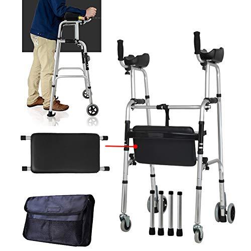 HEWYHAT Klappbarer Walker, höhenverstellbar mit 4 Lenkrollen, Gehwagen für Senioren und Behinderte, Rollator, Verstellbar, Faltbar, Leichtgewicht