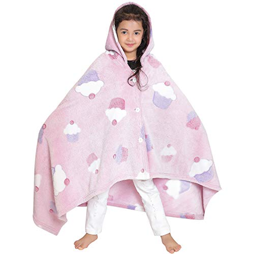 Wearable Hoodie Blanket Throw Glow in The Dark Fleece Super Soft and Light Weight for Kids (Pink)