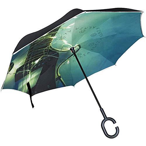 Dliuxf Umgekehrte elektrische Gitarre mit beleuchtetem Girlanden-Regenschirm Autos umkehren winddichten Regenschirm für das Auto im Freien mit C-förmigem Griff