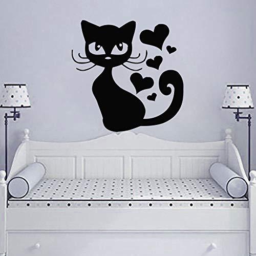 Tianpengyuanshuai muurstickers, kat, waterdicht, decoratie voor slaapkamer, school, kleuterschool, met afneembare muurstickers van vinyl in hartvorm