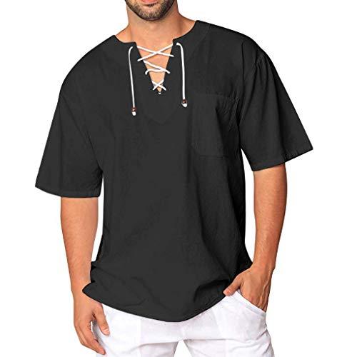 Modaworld Camicia a Maniche Corte in Cotone e Lino con Lacci Casual Comodo Senza Bottoni Semplice retrò da Uomo Moda T-Shirt Uomin