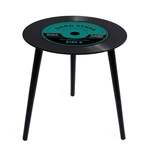 Balvi Mesa Auxiliar Greatest Hits Color Verde En Forma de Disco de Vinilo con Patas de Madera Cristal 40 cm
