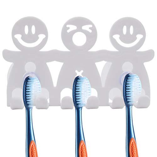 ZSWQ Smile Face Zahnbürstenhalter Saugnapf Cartoon Zahnbürstenhalter nett Lächeln, für Smiley Emoji Süße Zahnbürstenhalter Wand Bad Wandbild Home Decor Smiley face, 8PCS