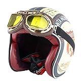 Casco moto Harley adulto retro anti collisione mesh cotone fodera caschi moto con occhiali...