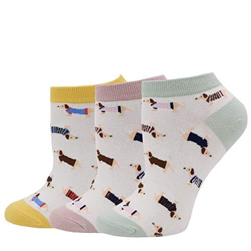 COCO TOE® Damen Socken Hunde Motive Dackel Socken Dog Socks (OneSize, Dog05)