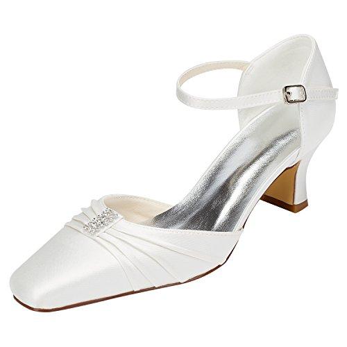 Emily Bridal Elfenbein Brautschuhe Chunky Heel Karree Falten Knöchelriemen Hochzeit Schuhe mit Kristall (EU40, Elfenbein)