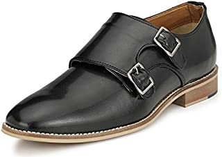 Afrojack Men's Handstiched Double Monk Strap Shoes(Handcrafted/Leather Sole)