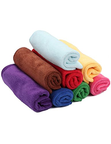 fani 8 Pieces Microfiber Cleaning Cloths Multi Colors Soft Washcloth High Absorbent Reusable Car Towel & Kitchen Cleaning Rags