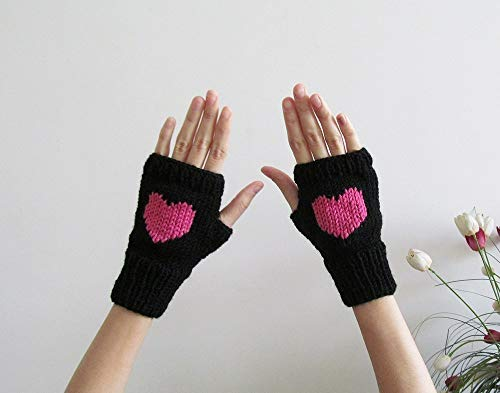 Knit Fingerless Gloves in Black, Orchid Pink Embroidered Heart, Heart Knit Gloves, Fingerless Mittens, Seamless, Wool Blend, Made to Order