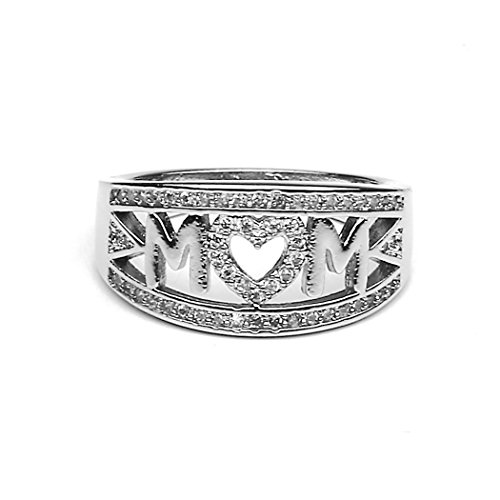 Myhouse Women Girls 18k White Gold Plated Rhinestone Heart Ring MOM Letter Ring for Mother's Day Gifts (8)