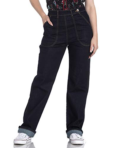 Hell Bunny Weston 40s Jahre Stil Rockabilly Jeans - Blau, UK 20 (3XL)