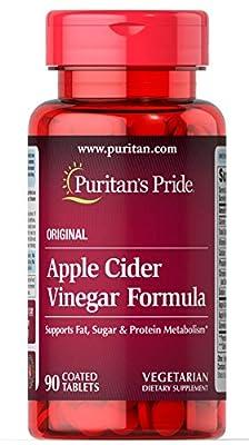 Puritan's Pride Apple Cider Vinegar Formula   Supports Fat, Sugar & Protein Metabolism   Easy Swallowing   Vegetarian   90 Tablets