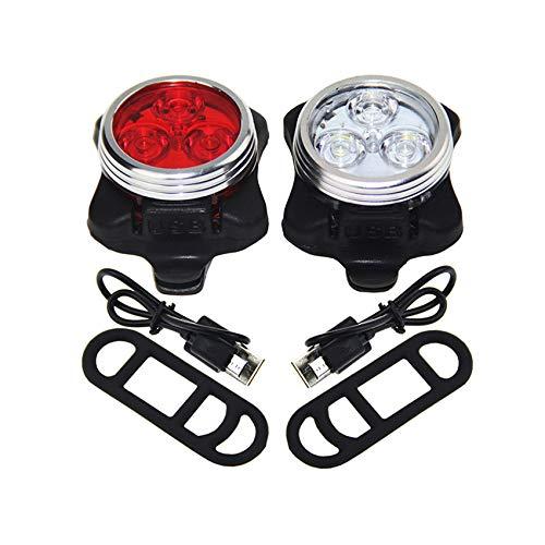 Rpanle Luces Delanteras y Traseras Recargables USB, Impermeable LED Luz,4 Iluminación Modos Luz de alerta