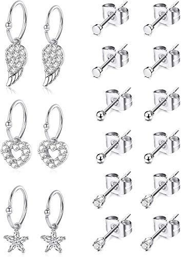 Finrezio 9 Pairs Tiny Stud Earrings For Women Girls Stainless Steel Small Hoop Dangle Earrings Wings Heart Star Hoop Earrings Cartilage Helix Earring