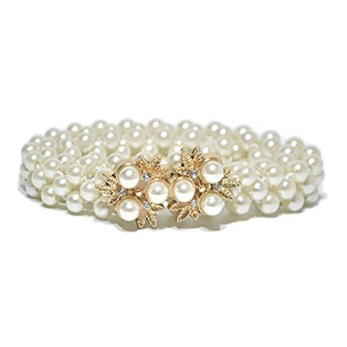 JHD 70x2cm Mujer Tres Filas Perlas de imitación Delgadas Cintura Faja de Boda Nupcial con aleación de Metal Flor Decoración de Diamantes de imitación Bukle Cinturón Cinturón Cadena Oro/Plata