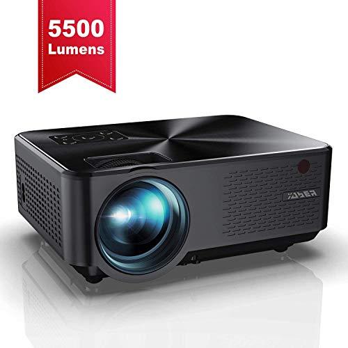 Beamer, YABER Mini Beamer 5500 Lumen Unterstützt 1080P Full HD, Projektor mit Dolby-Sound HiFi Stereo Lautsprechern, Metallabdeckung, 65000 Stunden LED, Mini projektor für Film Unterhaltung Spiele