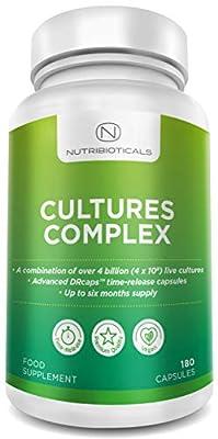 Cultures Complex with TIME RELEASE capsules   12.3 BILLION Live Cultures Per Serving (Best on Market) Includes Lactobacillus Acidophilus & Bifidobacterium   180 Capsules