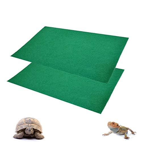 Reptile Carpet, 2 Pack Terrarium Bedding Substrate Liner Reptile Mat Cage Supplies for Bearded Dragon Lizard Leopard Gecko Iguana Tortoise Snake 39'' x 20''