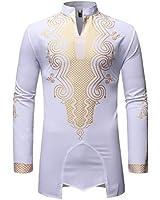LucMatton Men's Traditional African Dashiki Luxury Metallic Gold Printed Shirt White X-Large