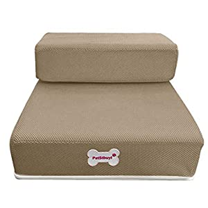 vmree Breathable Mesh Pet Stairs Detachable Padded Bed Dog Ramp 2 Steps Ladder – Designed for Injured, Older, Joint Pain, Overweight or Hip-dysplasia Pets – Caring Pet Supplies (Coffee – L)