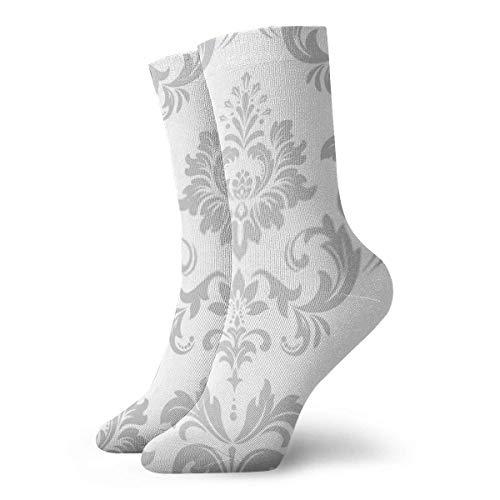 Socken Tapete im Barockstil mit weißem und grauem Blumenmuster, für Sport, Arbeit, Athletik, Crew-Socken, 30 cm