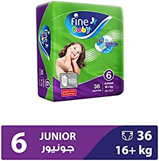 Fine Baby Diapers Green Fast Sorption, Junior 16+ Kgs, Jumbo Pack, 36 Count